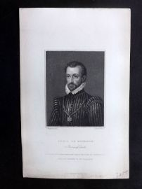 Bentley 1847 Antique Portrait Print. Louis de Bourbon, Prince of Conde